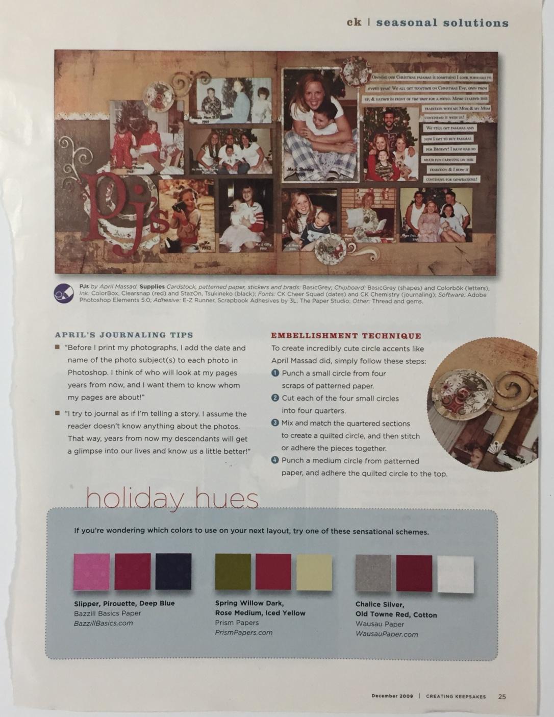 creating keepsakes palette holiday